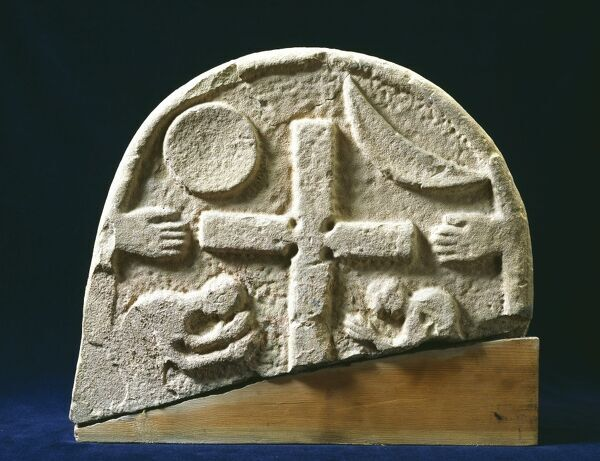 LINDISFARNE PRIORY, Holy Island, Northumberland. The reverse of a 9th century Viking grave marker. Possibly referring to the Day of Judgement, Domesday