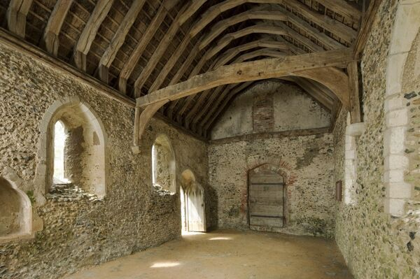 ST JAMES'S CHAPEL, LINDSEY, Suffolk. Interior view of the 13th century chapel from the north east