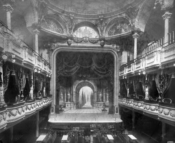 LONDON PAVILION THEATRE, Piccadilly Circus, Westminster, London. Interior from the first floor boxes looking towards the stage and pit. Photographed in 1885 by Bedford Lemere
