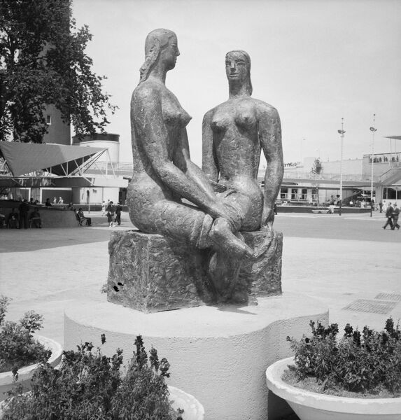 Festival of Britain 1951, Lambeth, London. The sculpture 'London Pride' by Frank Dobson at the South Bank Exhibition site. Photographed by M W Parry