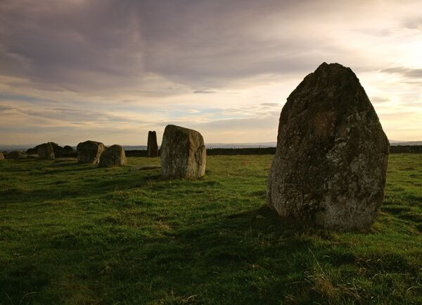 LONG MEG AND HER DAUGHTERS, Cumbria. A Bronze Age circle said to be a coven of witches which were petrified by a Scottish wizard