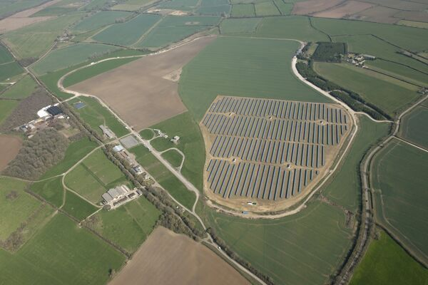 Long Newnton, Gloucestershire. Solar farm on the site of the former RAF airfield