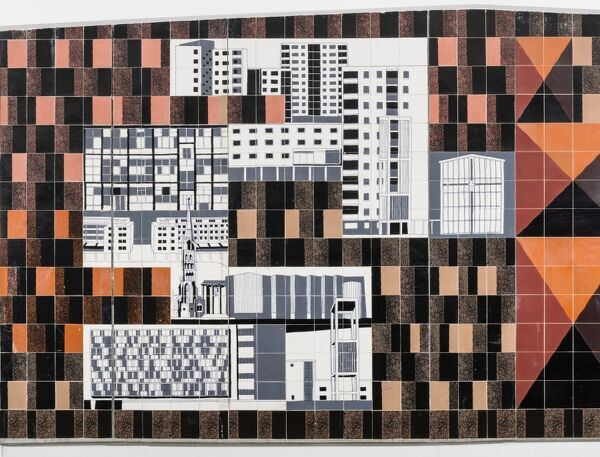 Lower Precinct, Coventry, West Midlands. Detail of Gordon Cullen tiled mural in passage way from Lower Precinct to Corporation Street