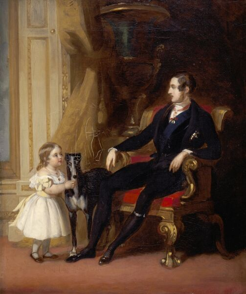 "OSBORNE HOUSE, Isle of Wight. "" His Royal Highness Prince Albert, Princess Royal and Eos "" 1843 by John Lindsay Lucas. Albert, Prince Consort with Princess Victoria and Eos the dog"