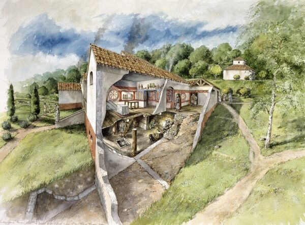 LULLINGSTONE ROMAN VILLA, Kent. Cutaway reconstruction drawing of the chapel & cellar in the late 4th century AD, by Peter Dunn (English Heritage Graphics Team)
