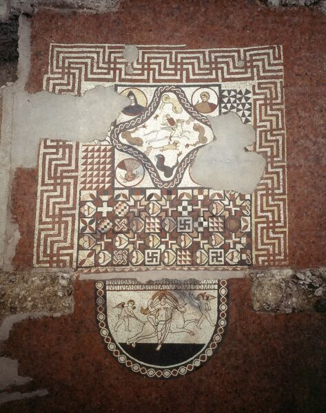 LULLINGSTONE ROMAN VILLA, Kent. Overall view of mosaic floor in dining / audience room showing Europa, Bellerophon & Pegasus