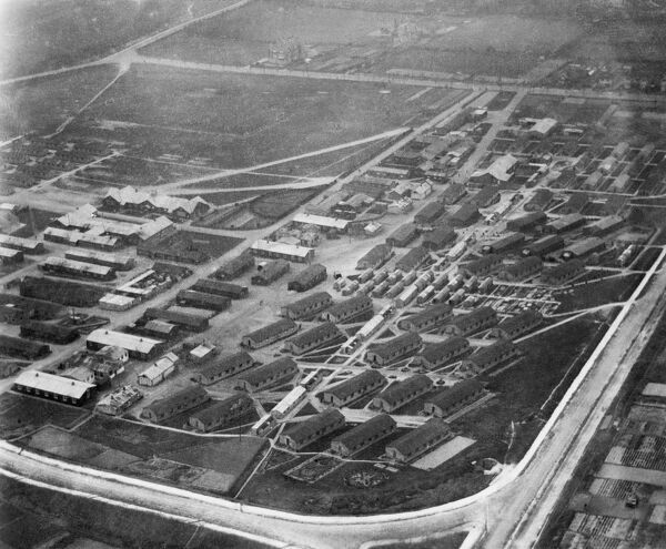 LYDD TRAINING CAMP, Kent. Aerial view. This photograph from February 1920 indicates the extent of the First World War barracks