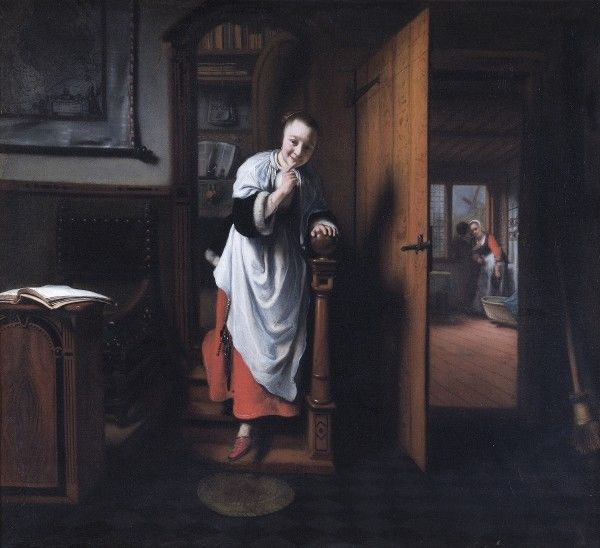 "APSLEY HOUSE, London. ""The Eavesdropper"" 1655-7 by Nicolaes MAES (1634-93). WM 1503-1948"