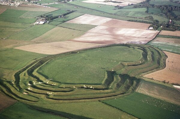 Maiden Castle, Dorset. The largest Iron Age hillfort in Britain, currently managed by English Heritage. Photographed in September 1970 by Jim Hancock