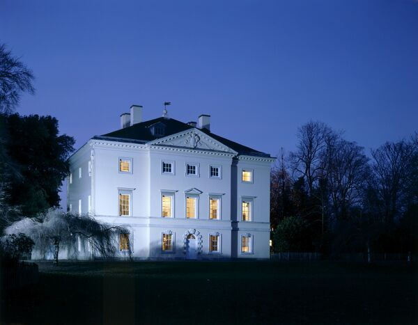 MARBLE HILL HOUSE, Richmond, Twickenham, Middlesex. Exterior view of the South front at night