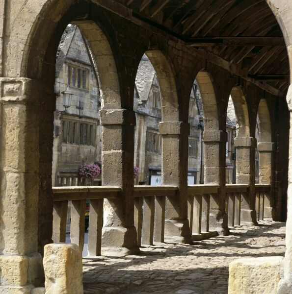 MARKET HALL, Chipping Campden, Cotswolds, Gloucestershire. Interior view of the 17th century building, showing stone floor and arches