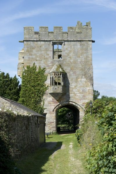 MARMION TOWER, North Yorkshire. The 15th century gatehouse from the East showing the gateway and oriel window