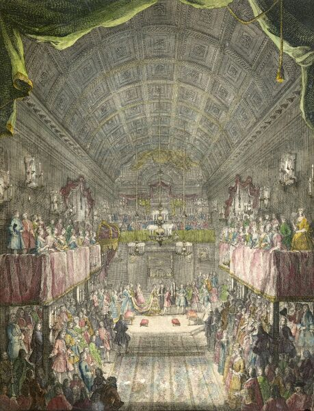 MAYSON BEETON COLLECTION. St James Palace, London 1733. The Chapel Royal at St James on the occasion of the marriage of Princess Anne to William Prince of Orange. Coloured engraving from the Mayson Beeton Collection. Date of marriage 25th March 1734