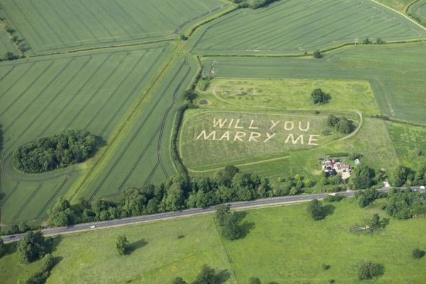 "Aerial view of a ""Will You Marry Me"" message. Bedfordshire"
