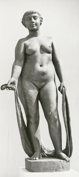 Festival of Britain 1951. Lambeth, London. A plaster figure of a female nude by John Mathews, outside the Homes and Gardens Pavilion at the South Bank Exhibition site. Photographed in June 1951