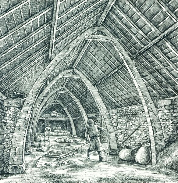WHARRAM PERCY MEDIEVAL VILLAGE, North Yorkshire. Reconstuction drawing by Peter Dunn (English Heritage Graphics Team) showing the interior of the Medieval Vicarage Barn