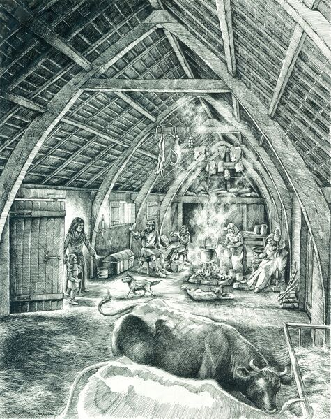 WHARRAM PERCY MEDIEVAL VILLAGE, North Yorkshire. Reconstruction drawing by Peter Dunn (English Heritage Graphics Team) showing a peasant house in the 13th to 15th centuries