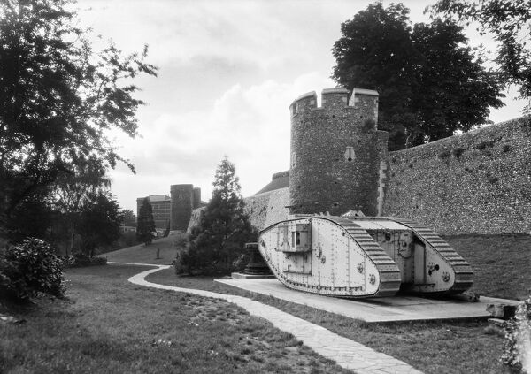 City Walls, Canterbury, Canterbury, Kent. The First World War tank was presented to Canterbury in July 1919 to celebrate the 'Great Peace Day'. 1920-1940. Walter Scott
