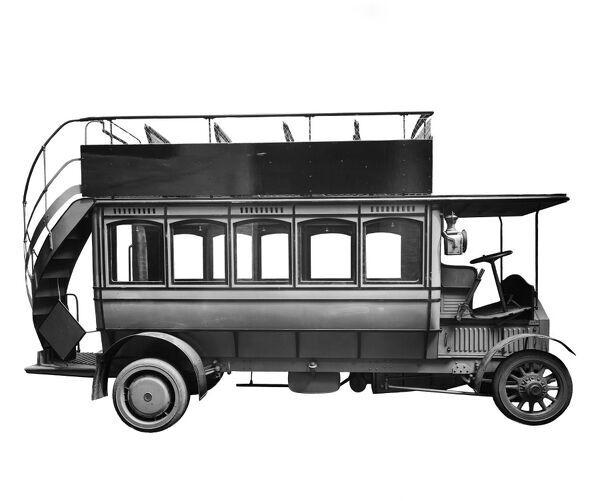 Cut out of a Mercedes electric bus. Electric powered vehicles were first developed in the mid 19th century, but were superceeded by the cheaper and more reliable internal combustion vehicles. The first motorised buses appeared in London in 1902