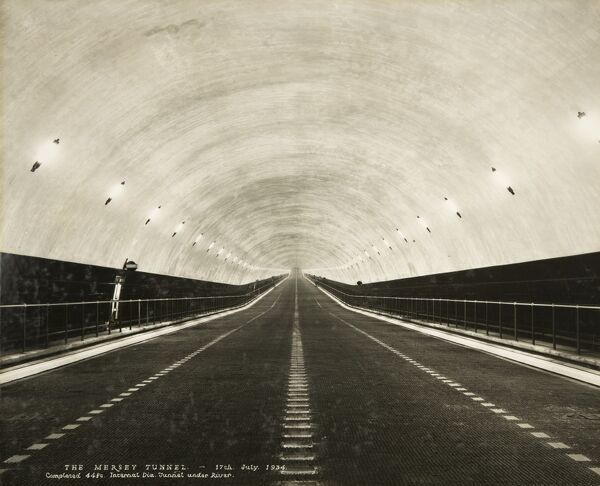 The Mersey Tunnel, Liverpool, 17 July 1934. Stewart Bale Ltd was commissioned as official photographer to record the construction of the first Mersey road tunnel, known as Queensway. It was built between 1925 and 1934 by the engineers Basil Mott