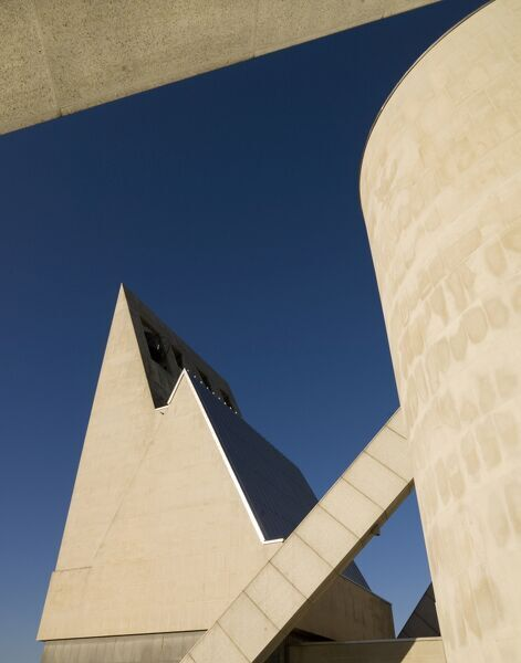 METROPOLITAN CATHEDRAL OF CHRIST THE KING, Liverpool. An abstract exterior view of the belfry
