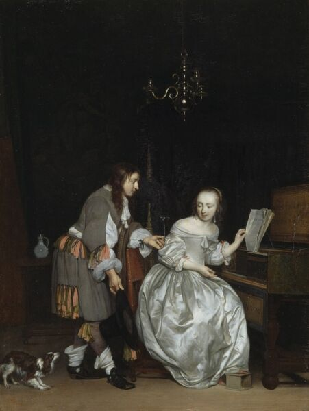 "KENWOOD HOUSE, London. ""An Interior With a Lady Seated at a Keyboard"" c.1650's by Gabriel METSU (1629-67)"