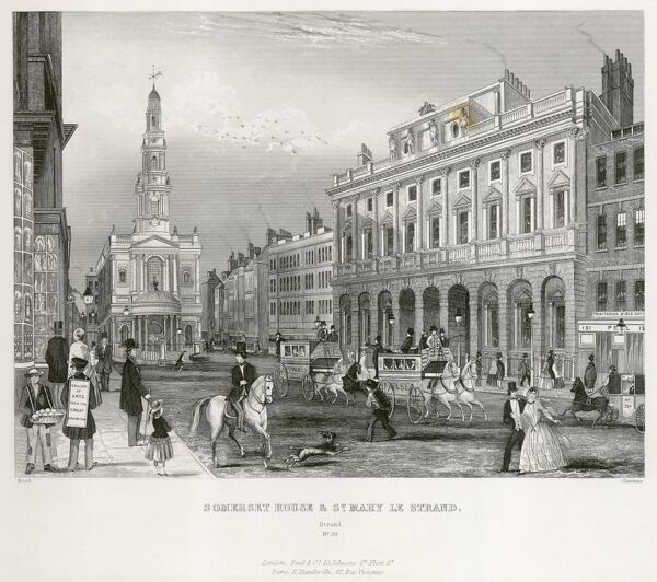 MAYSON BEETON COLLECTION. Strand, London. Mid-nineteenth century. Showing Somerset House and St Mary le Bow. Engraving from the Mayson Beeton Collection