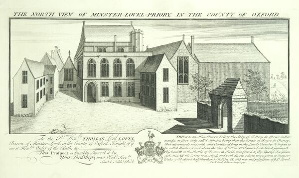 MINSTER LOVELL HALL ' North view of Minster Lovell Priory in the county of Oxford '. 1729 engraving by Samuel and Nathaniel Buck