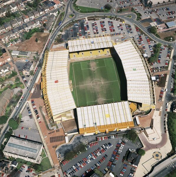 MOLINEUX Stadium, Wolverhampton. Aerial view of the home of Wolverhampton Wanderers Football Club