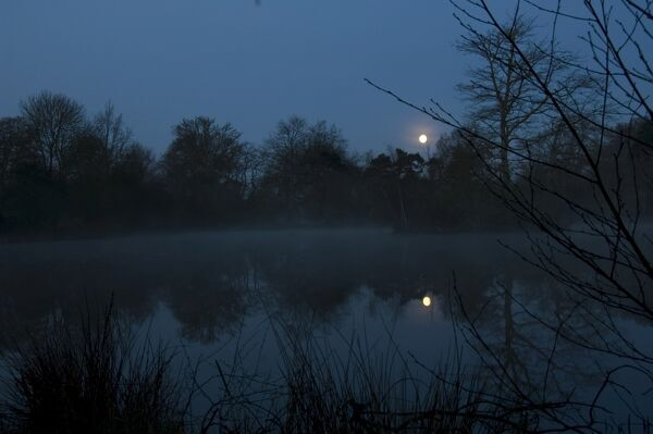 Battle Abbey, Sussex. Moonrise over the lake