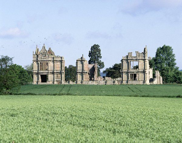 MORETON CORBET CASTLE, Shropshire. View towards the South elevation of the Elizabethan house