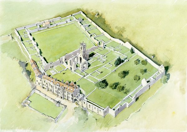 MOUNT GRACE PRIORY, North Yorkshire. Aerial view reconstruction drawing by Terry Ball (English Heritage Graphics Team)