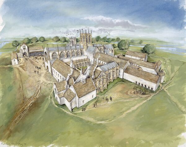 MUCHELNEY ABBEY, Somerset. Aerial view reconstruction drawing by Peter Dunn of the abbey in the 16th century from the South West