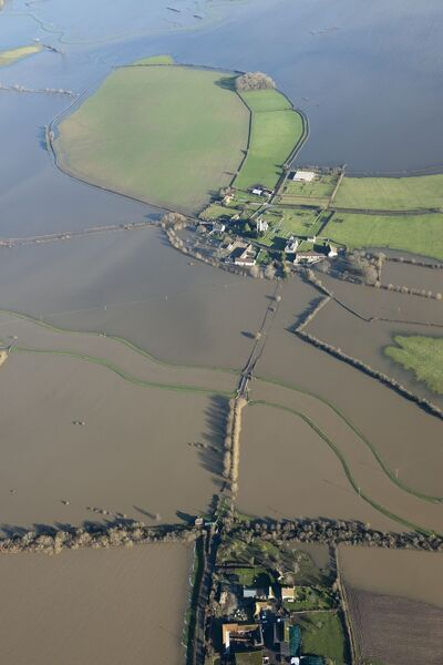 Muchelney Abbey, Somerset Levels. Aerial view of flooding in January 2014. ST4224/44