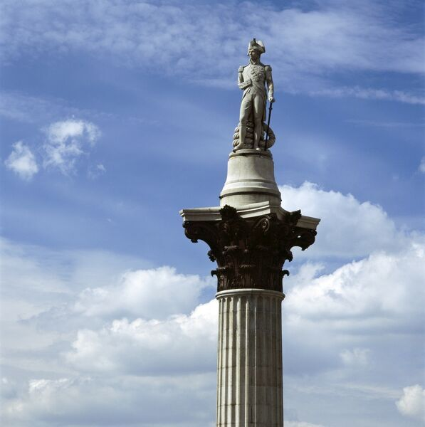 THE NELSON MEMORIAL, Trafalgar Square, City of Westminster, London. Detail of Nelson's Column
