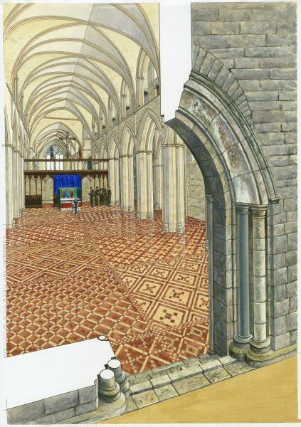 NETLEY ABBEY, Hampshire. A cutaway reconstruction drawing by Roger Hutchins of the interior of the church nave in the 14th century