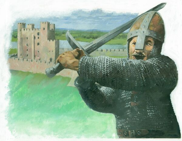A Norman soldier attacking with a 'hand-and-a-half', a two-handed broadsword. In the background is shown a medieval castle keep. Illustration by Ivan Lapper, 1990s