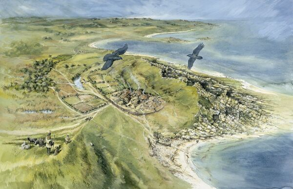 ISLES OF SCILLY. Aerial reconstruction drawing by Peter Dunn (English Heritage Graphics Team) of Nornour prehistoric site in 500 BC