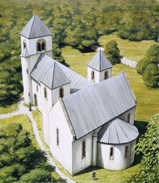 NORTH ELMHAM CHAPEL, Norfolk. Aerial view of Chapel c. 1100. Reconstruction drawing by Peter URMSTON