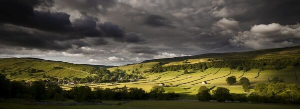 KETTLEWELL, North Yorkshire. Panoramic view of field barns in the landscape