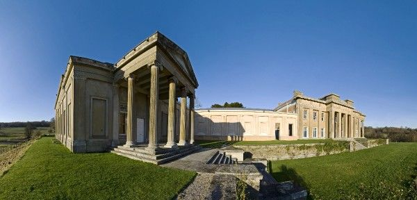 NORTHINGTON GRANGE, Hampshire. Panoramic view. Created between 1804 and 1809, Northington Grange is the foremost example of Greek Revival style in England