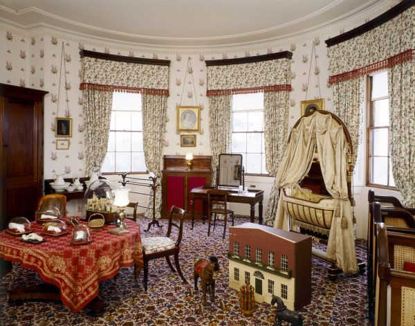 OSBORNE HOUSE, Isle of Wight. Interior view of the Nursery Bedroom. Some items shown maybe on loan from the Royal Collection