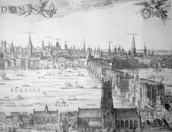 Extract from an engraving showing the City of London from Southwark. Major monuments are recorded, including Old London Bridge