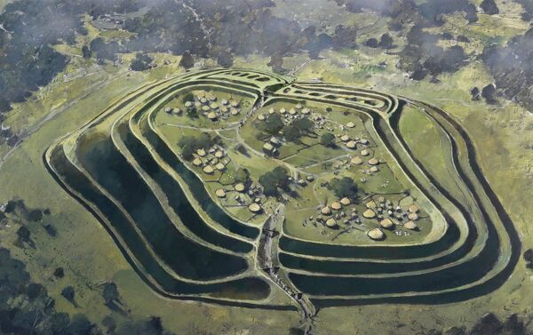OLD OSWESTRY HILL FORT, Shropshire. Aerial view reconstruction drawing by Ivan Lapper of the fort in the Iron Age at the height of its occupation