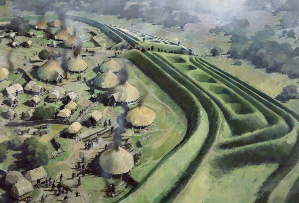 OLD OSWESTRY HILL FORT, Shropshire. Aerial view reconstruction drawing by Ivan Lapper of the entrance to the fort during the Iron Age