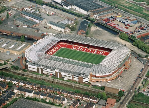 OLD TRAFFORD, Greater Manchester. Aerial view. Stadium home of Manchester United Football Club in 1994. United with Eric Cantona won the Premiership that season. Aerofilms Collection (see Links)
