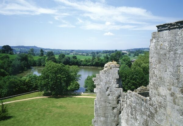 OLD WARDOUR CASTLE, Wiltshire. View from the top of the castle looking west over the lake