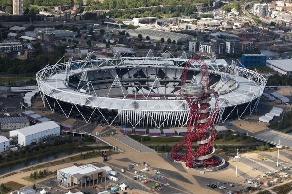 Queen Elizabeth Olympic Park, London. The Olympic Stadium and Orbit Tower. Photographed in September 2012