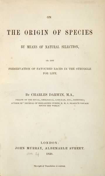 "DOWN HOUSE, Downe, Kent. Title page of ""On the Origin of Species"" by Charles Darwin"