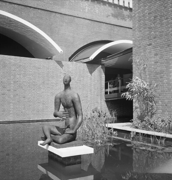Festival of Britain 1951, Lambeth, London. The sculpture of Orpheus by Heinz Henghes at the entrance to the 'Downstream' section of the South Bank Exhibition site. Photographed by M W Parry